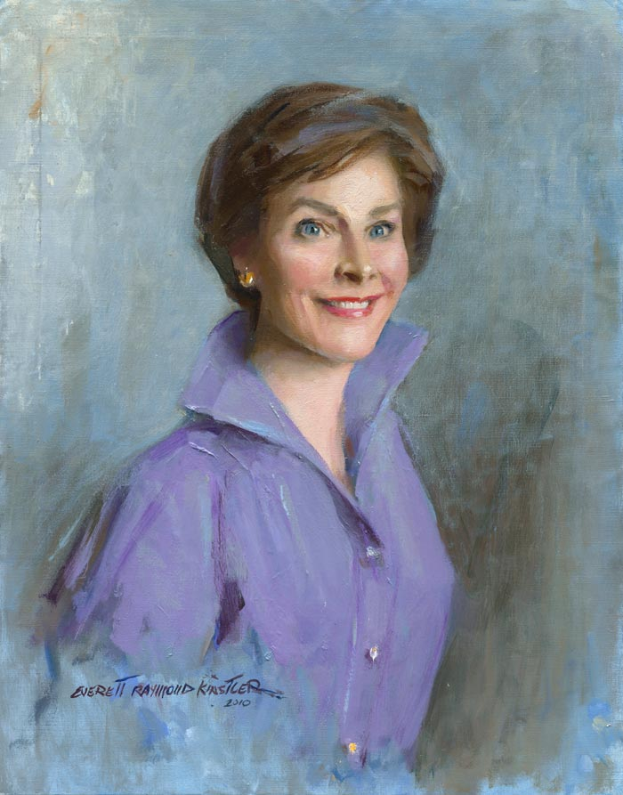 portrait-art-laura-bush-everett-raymond-kinstler